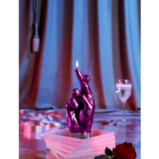 Świeca Skrzyżowane palce różowy metalik Candellana
