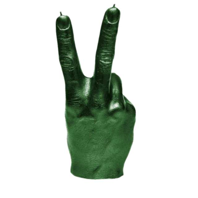 Świeca Dłoń Solidarność XXL zielony metalik Candellana