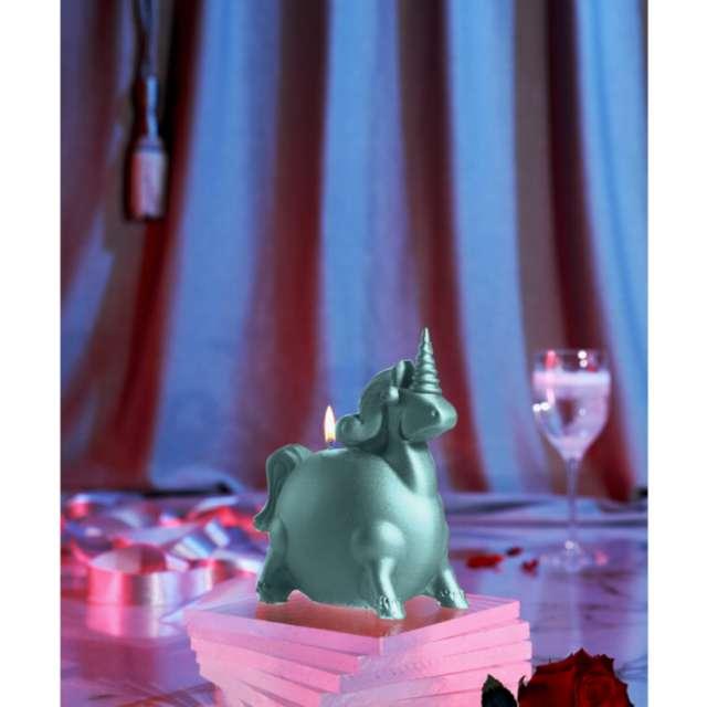 Świeca Jednorożec miętowy perłowy Candellana