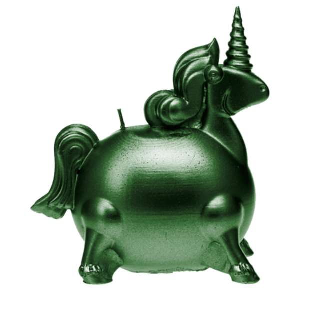 Świeca Jednorożec zielony metalik Candellana