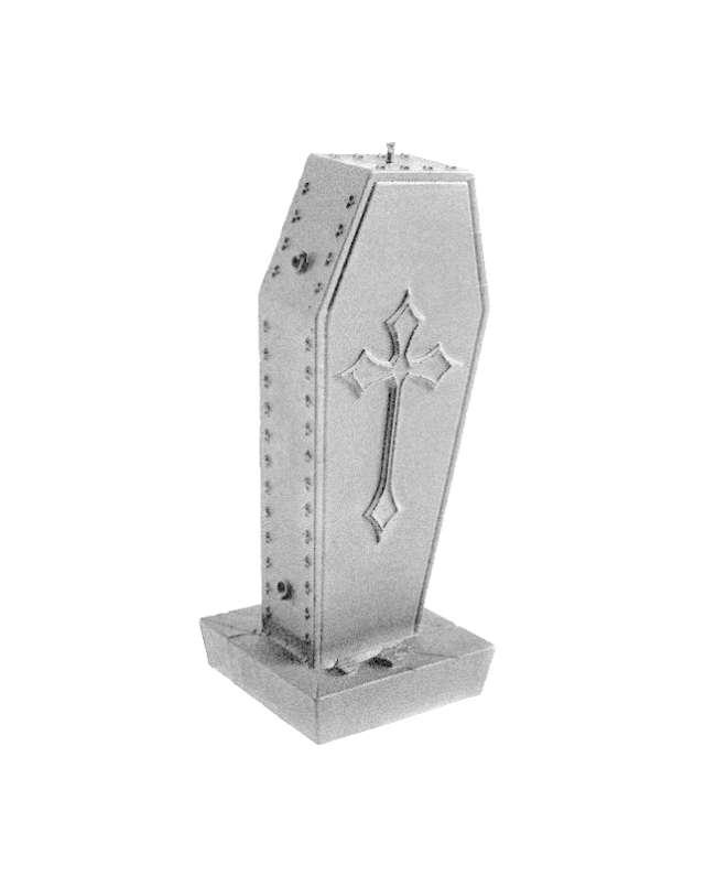 """Świeca """"Trumna z krzyżem"""", srebrny metalik, Candellana"""