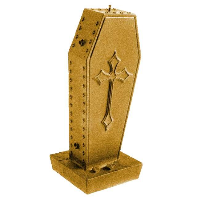 Świeca Trumna z krzyżem złota perła Candellana