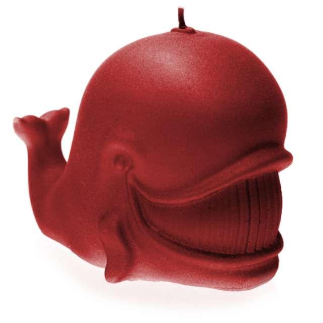 """Świeca """"Wieloryb"""", czerwony perłowy, Candellana"""