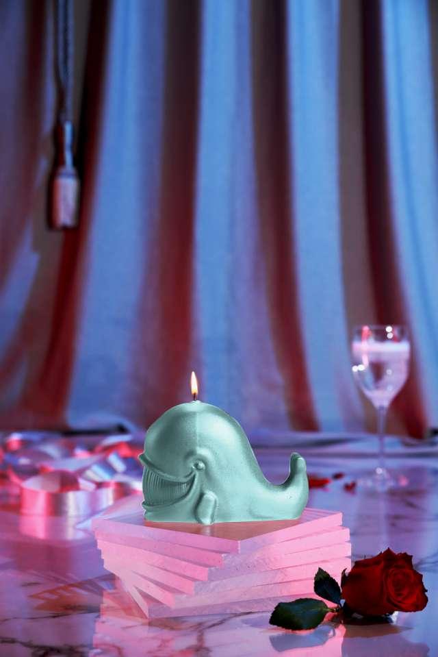 Świeca Wieloryb mięta perłowa Candellana
