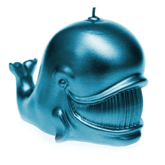 """Świeca """"Wieloryb"""", niebieski metalik, Candellana"""