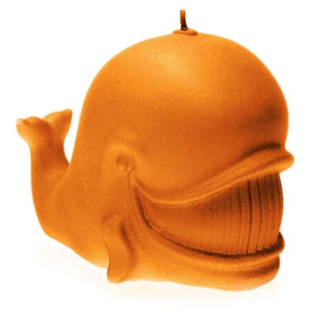 """Świeca """"Wieloryb"""", pomarańczowa perła, Candellana"""