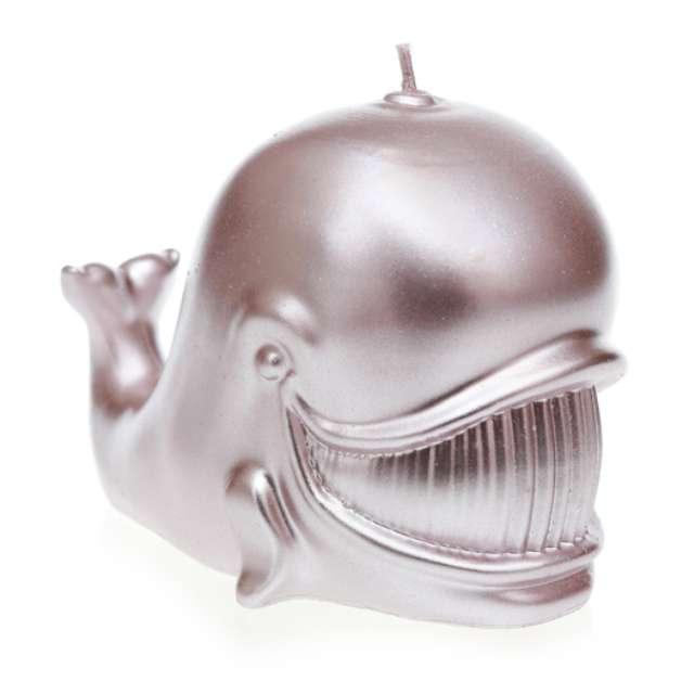 """Świeca """"Wieloryb"""", srebrny metalik, Candellana"""