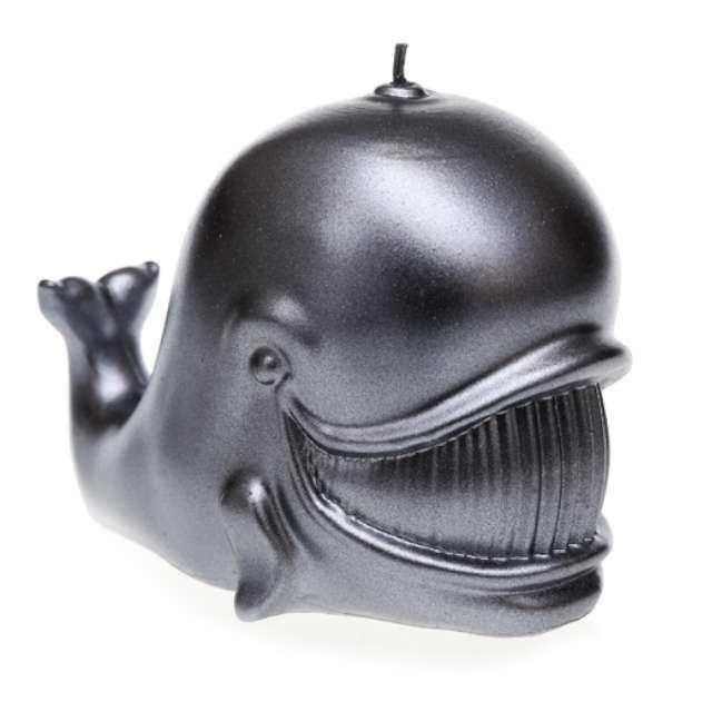 """Świeca """"Wieloryb"""", stalowy metalik, Candellana"""