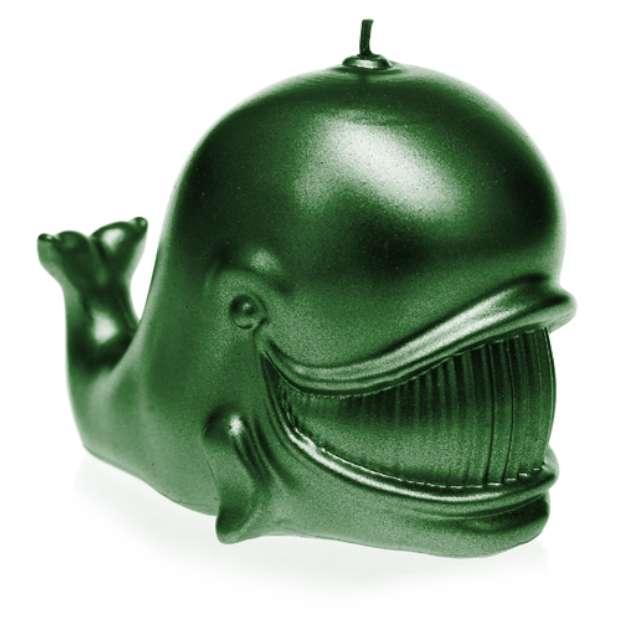 """Świeca """"Wieloryb"""", zielony metalik, Candellana"""