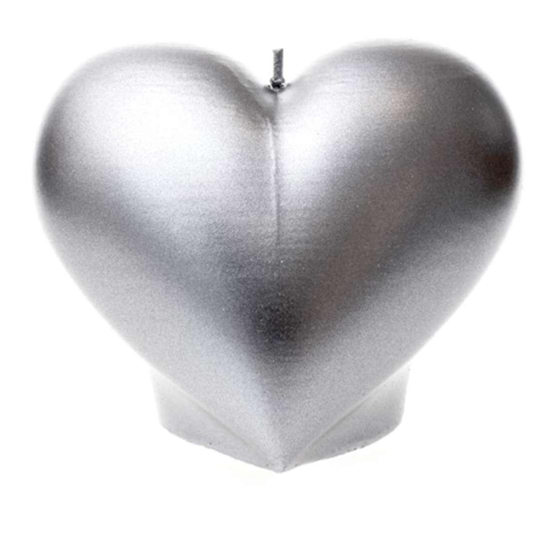 "Świeca ""Serce"", srebrny metalik, Candellana"