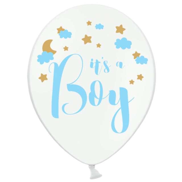 Balony Its a Boy białe PartyDeco 12 6 szt
