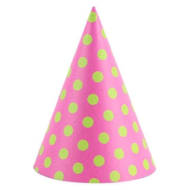 """Czapeczki """"Kropeczki błękitne"""", różowy ciemny, PartyDeco, 16 cm, 6 szt"""