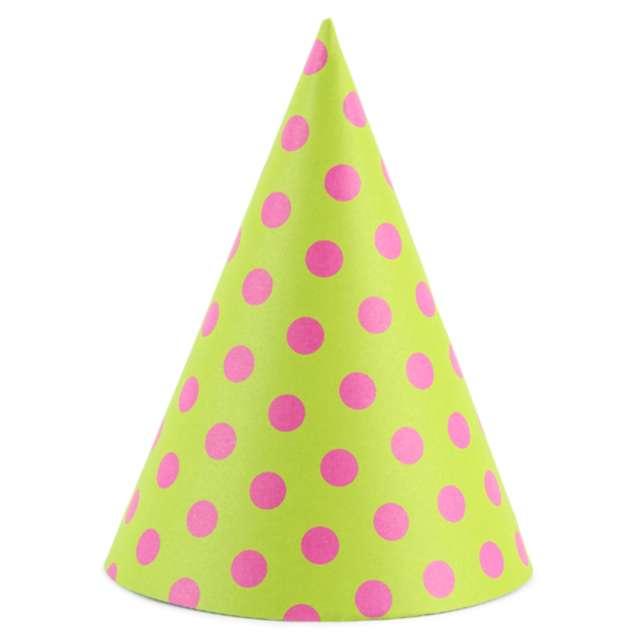 """Czapeczki """"Kropeczki żółte"""", zielone jabłuszko, PartyDeco, 16 cm, 6 szt"""