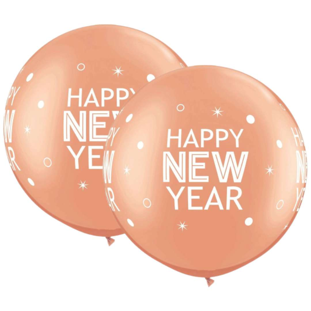 "Balon ""Happy New Year"", różowe złoto, Qualatex, 30"", 2 szt"