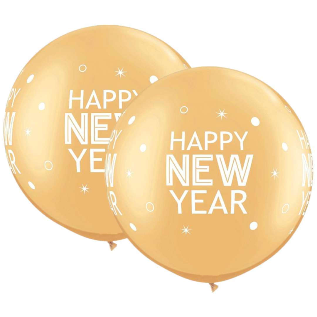 Balon Happy New Year złoty Qualatex 30 2 szt