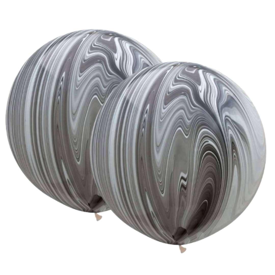 Balon Marmurowe srebrne Qualatex 30 2szt