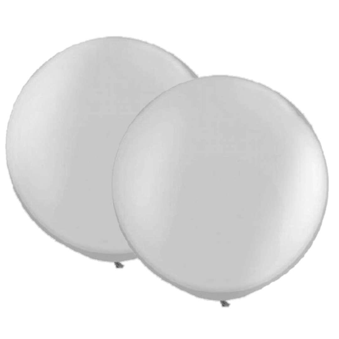 Balon Classic Round srebrne Qualatex 30 2szt