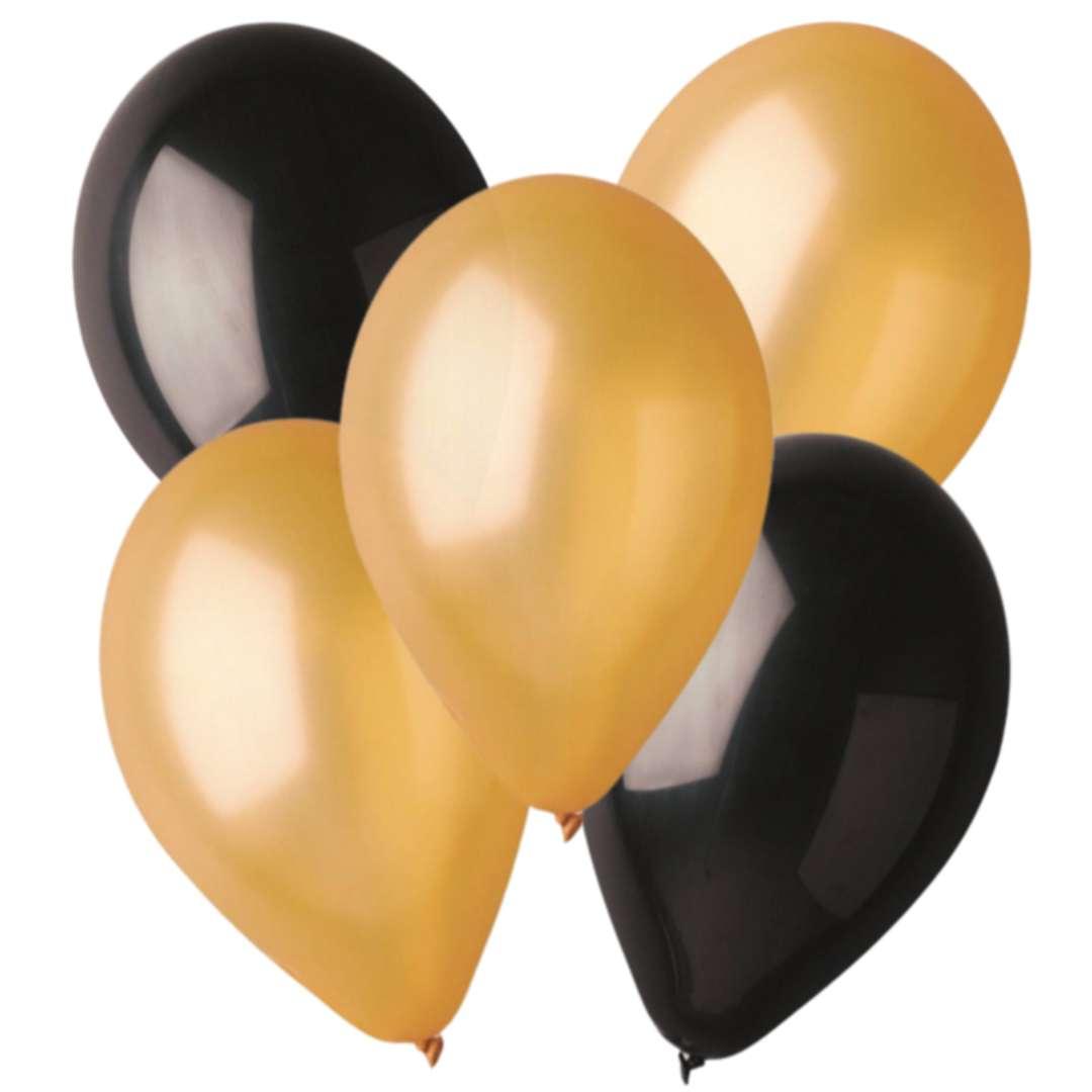 """Balony """"Classic metalik"""", złote i czarne, Godan, 10"""", 5 szt."""