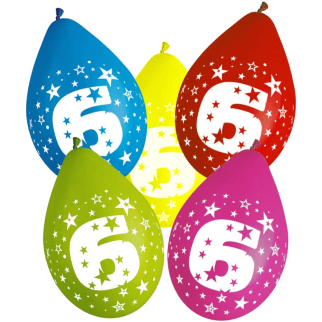 """Balony wiszące """"Cyfra 6"""", Gemar, 12"""", 5 szt."""