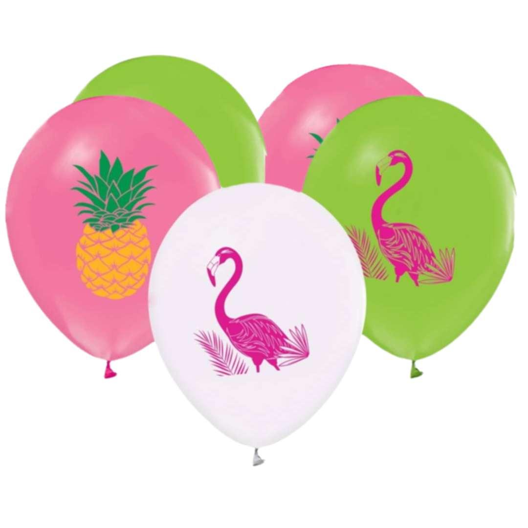 """Balony """"Flamingi i ananasy"""", Godan, 12"""", 5 szt."""