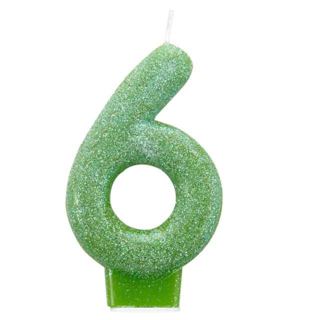 """Świeczka na tort """"Cyfra 6 - Brokatowa"""", zielona, Amscan"""