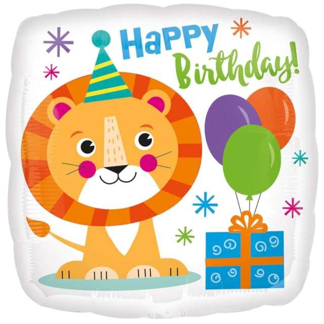 """Balon foliowy """"Urodzinowy lew"""", Amscan, 18"""" SQR"""