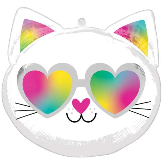 Balon foliowy Zakochany kotek biały Amscan 17 RND