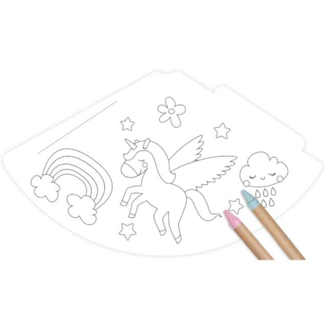 Czapeczki papierowe Pokoloruj sam - Jednorożec Godan 6 szt