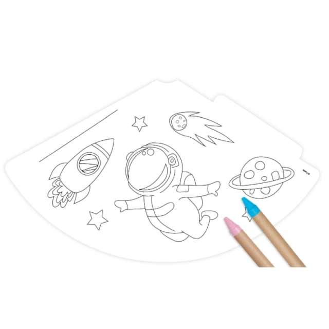 Czapeczki papierowe Pokoloruj sam - Kosmos Godan 6 szt