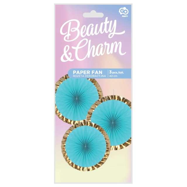 Rozeta wisząca Beauty and Charm błękitno-złota Godan 40 cm 3 szt