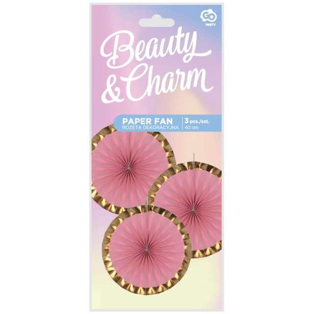 Rozeta wisząca Beauty and Charm różowo-złota Godan 40 cm 3 szt