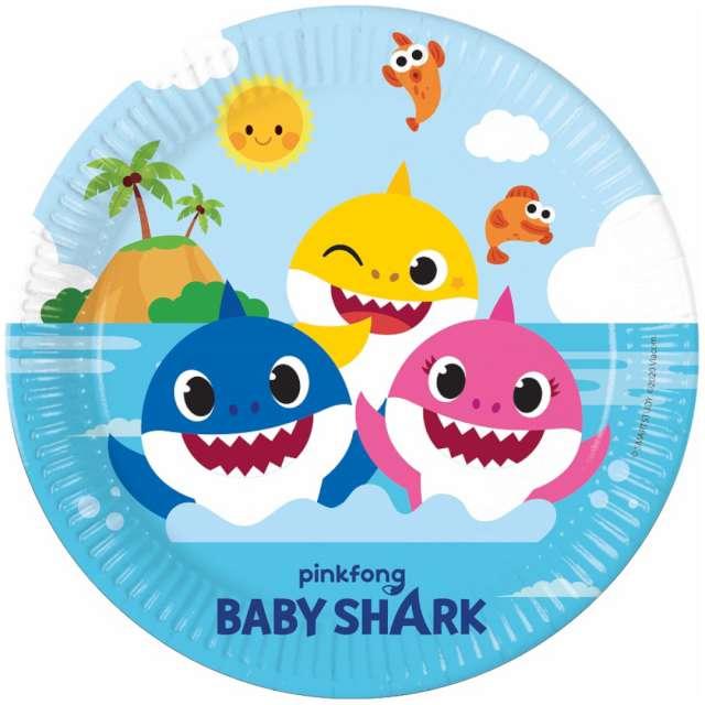 """Talerzyki papierowe """"Baby Shark"""", Procos, 23 cm, 8 szt."""