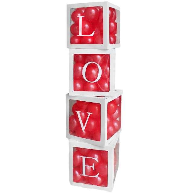 """Pudełka na balony """"Love"""", białe, Godan, 4 szt"""