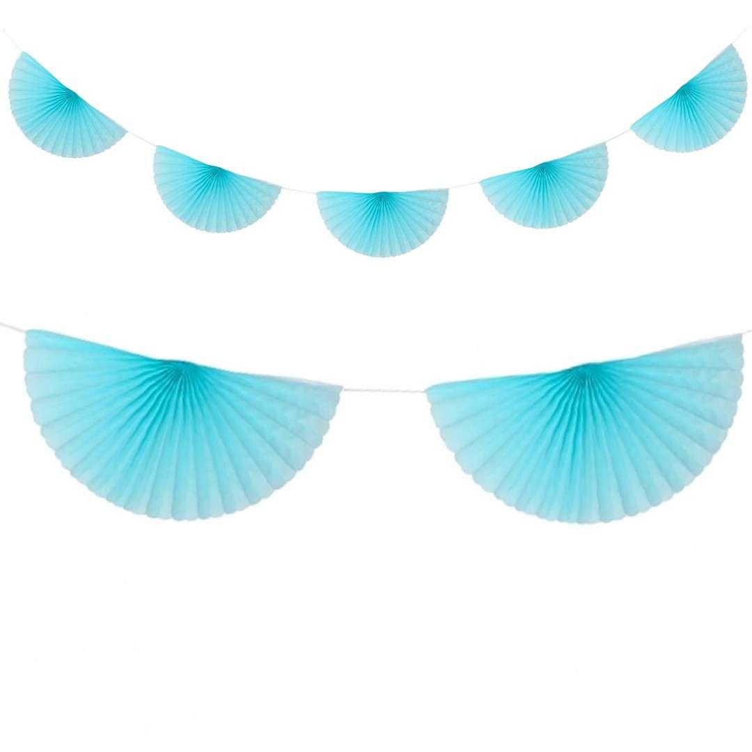 """Girlanda bibułowa """"Rozety"""", błękitna, Godan, 300 cm"""
