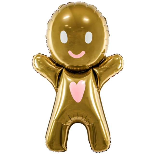 """Balon foliowy """"Ciasteczkowy Ludzik"""", brązowy, PartyDeco, 34"""", SHP"""