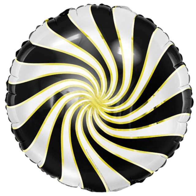"""Balon foliowy """"Lizak"""", czarno-biały metalik, Partydeco, 14"""" RND"""