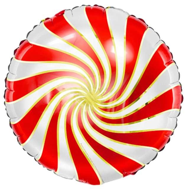 Balon foliowy Lizak czerwono-biały metalik Partydeco 14 RND