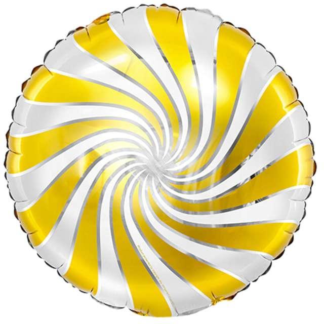 """Balon foliowy """"Lizak"""", złoto-biały metalik, Partydeco, 14"""" RND"""