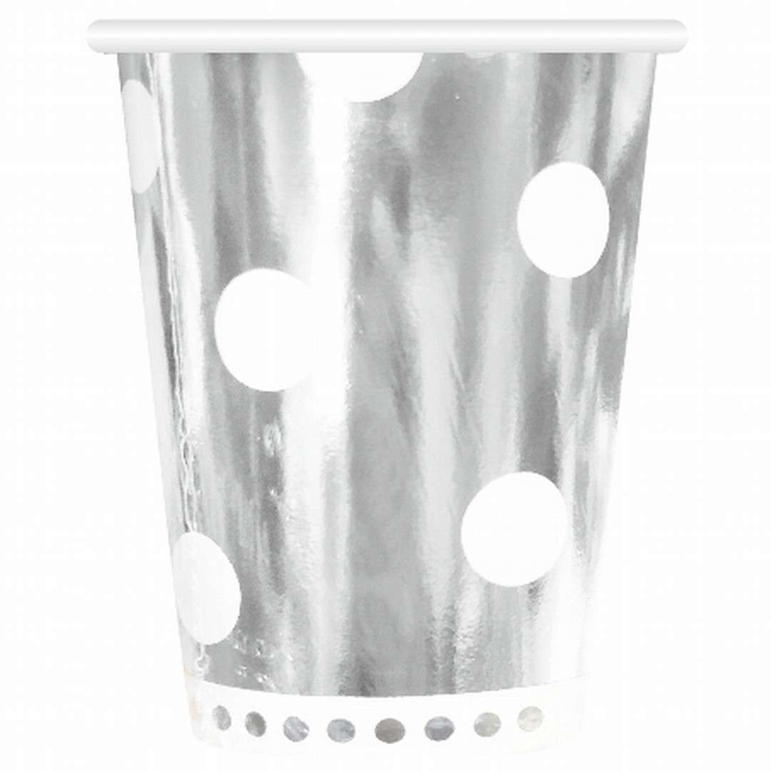 """Kubeczki papierowe """"Grochy - Metalik"""", srebrne, Godan, 266 ml, 6 szt"""