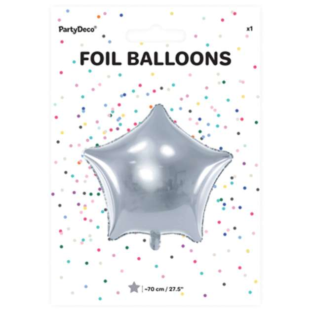 Balon foliowy Gwiazda srebrny metalik 27 STR