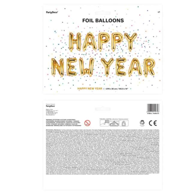 Balony foliowe Napis Happy Birthday złoty PartyDeco 370 cm 12 szt