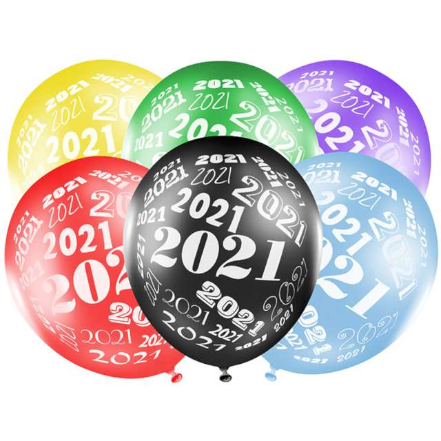 """Balony """"Sylwester 2021"""", mix metalik, STRONG, 12"""", 6szt"""