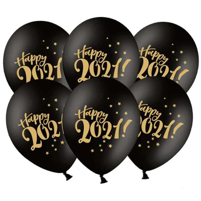 _xx_Balony 30cm Happy 2021! Pastel Black (1 op. / 6 szt.)