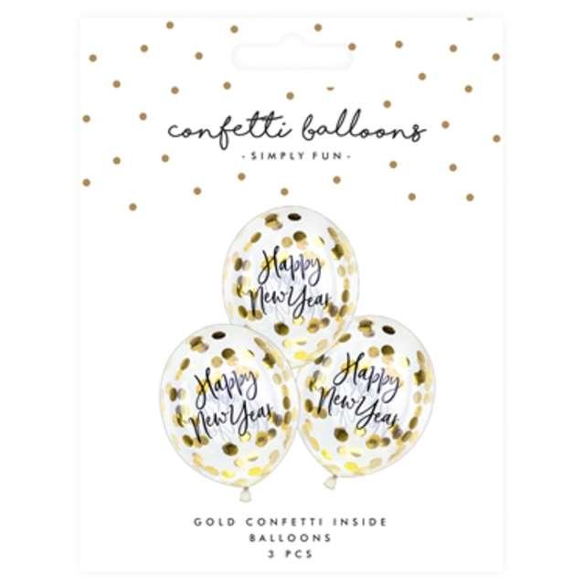 Balony z konfetti Happy New Year złote PartyDeco 11 3 szt