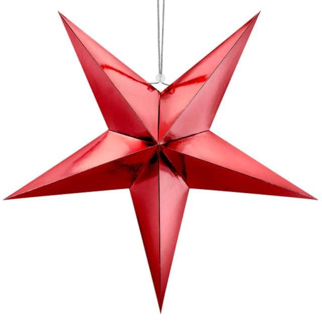 """Dekoracja """"Gwiazda 3D"""", papierowa, PartyDeco, czerwona, 70 cm"""