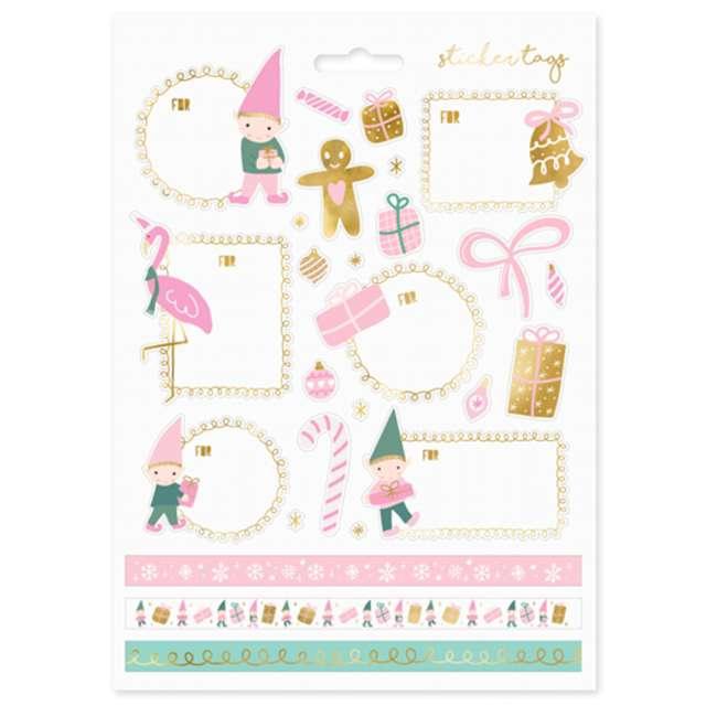 """Naklejki na prezenty """"Świąteczne Skrzaty"""", różowe, PartyDeco"""