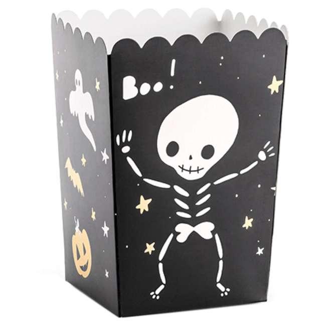 Pudełka na popcorn Halloween Boo czarne PartyDeco 6szt