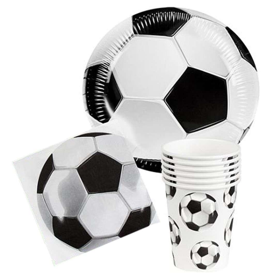 """Zestaw naczyń papierowych """"Piłkarskie Party"""", biało-czarny, Boland"""