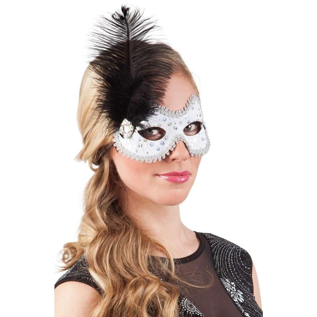 Maska Wenecka z piórkiem biała Boland