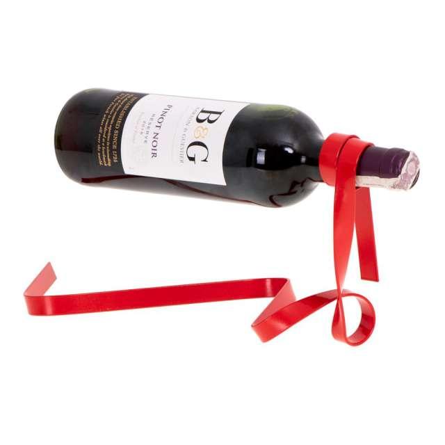 """Stojak na wino """"WSTĄŻKA"""", czerwony, GadgetMaster"""
